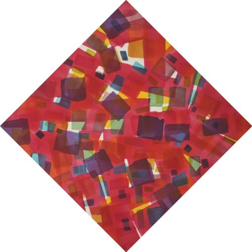 """PEDIE WOLFOND, COUNTERPOINT I, 2013 acrylic on raw canvas, 98.5 X 98.5"""""""