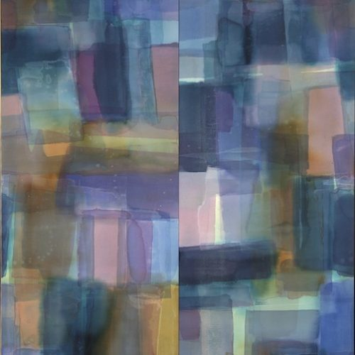Nocturnal Paths of Light Series Acrylic on canvas 46 x 58 inches